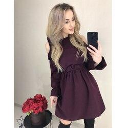 2019 осеннее женское однотонное Плиссированное мини-платье, сексуальное платье с открытыми плечами и длинным рукавом, платье с эластичной та...