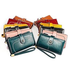 Image 5 - Yüksek kaliteli inek derisi deri kadın cüzdan Retro doğal cilt uzun fermuar sikke çanta Carteira Feminina büyük kapasiteli çanta kadınlar için