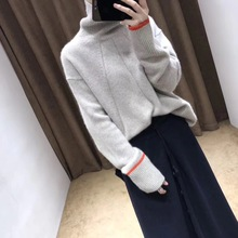 New Cashmere Sweater Autumn 2019 Lazy Loose Short High-collar Sweater Pullover Showing The Trend of Thin Sweater Knitted Sweater