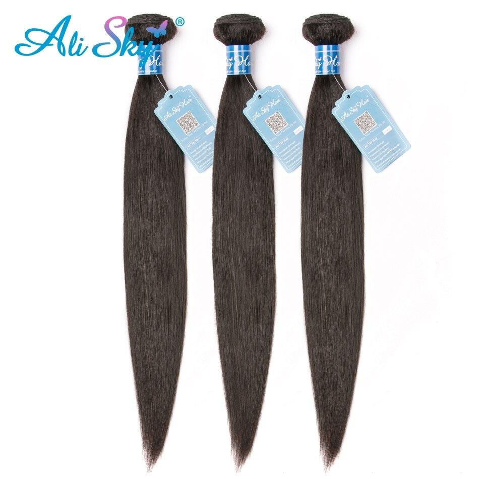 Ali Sky 3 пряди, перуанские прямые волосы, 100% человеческие волосы для наращивания, можно сделать парики Remy, бесплатная доставка, пряди черных волос-in 3/4 пучка from Пряди и парики для волос on AliExpress