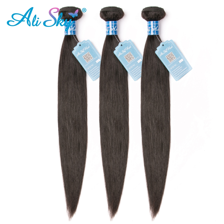 Ali Sky 3 Bundles Peruvian Straight Hair 100% Human Hair Extensions Can Make To Wigs Remy Free Shipping Black Hair Weaves