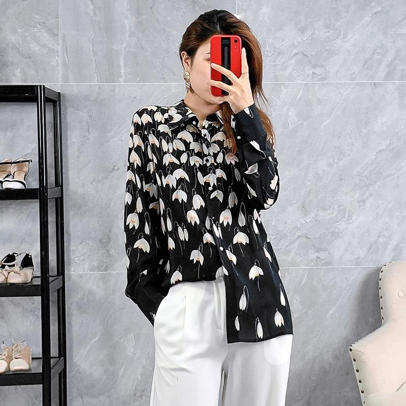 Nouveau 2019 automne hiver femmes top qualité soie hauts et chemisiers imprimé floral piste marque élégante chemises noires