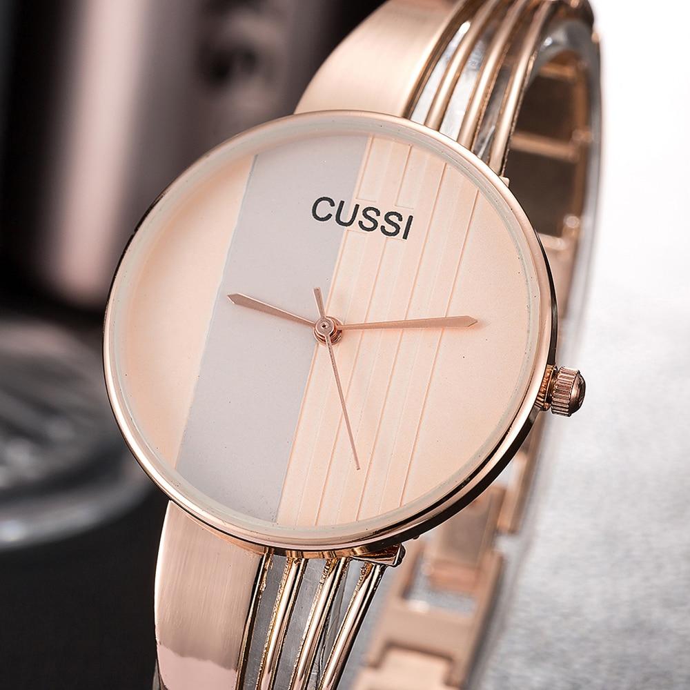 CUSSI luxe argent femmes montres Bracelet de mode élégant or Rose Quartz montre-Bracelet dames montre Bracelet horloge reloj mujer