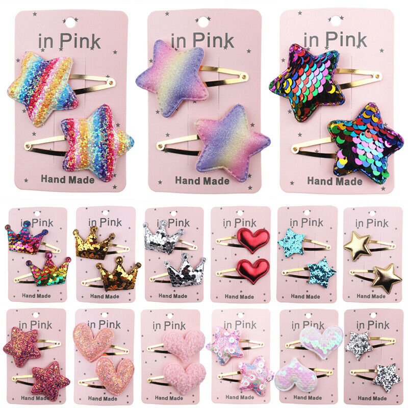 2pcs Baby Hair Clips Girls Kids Flowers Hair Clip Bow Hairpin Alligator Clips H