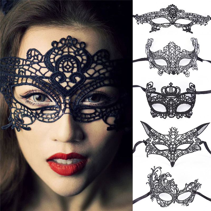 Black Sexy Mask Blinder Blindfold Erotic Fetish Bdsm Slave Restraint Adult Game Sex Toy Product For Women Lady Lace Mask Cutout