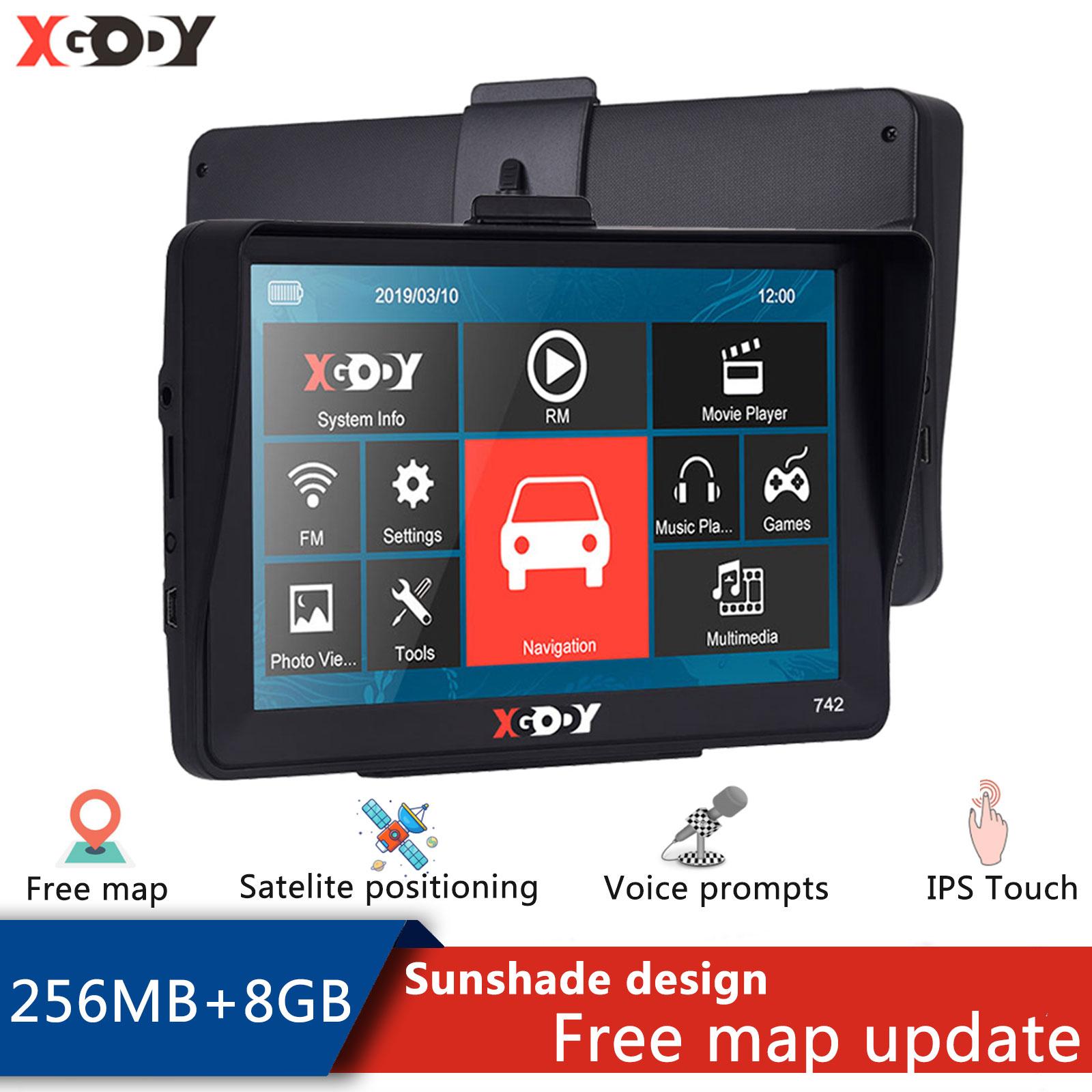 Xgody автомобиля GPS навигации 7 дюймов для грузовых автомобилей, GPS автомобильный навигатор спутниковой навигации Bluetooth 256 м + 8 Гб 742 сенсорный Э...