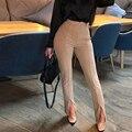 Женские сексуальные узкие брюки с разрезом спереди, однотонные брюки с высокой талией, элегантные офисные женские облегающие брюки, рабоча...
