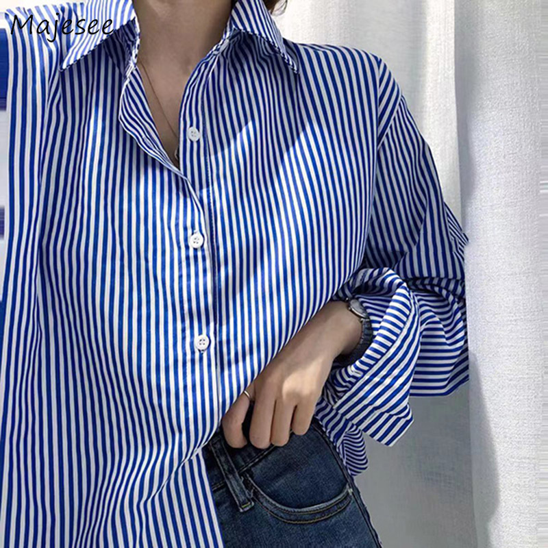 Shirts Women Striped Unisex Couples BF Loose Long Office Lady All-match Casual Harajuku Korean Style Womens Vintage Clothing New
