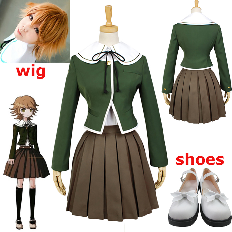 Danganronpa Fujisaki Chihiro Cosplay Costumes School Uniform Coat Shirt Dress Outfit Anime Danganronpa Halloween Costumes Shoes