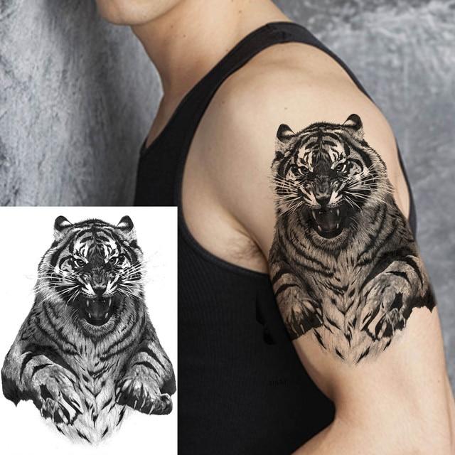 Big Black Tiger Tattoos Fake Men Wolf Leopard Tatoos Waterproof Large Beast Monster Body Arm Legs Tattoos Temporary Paper Cover 6