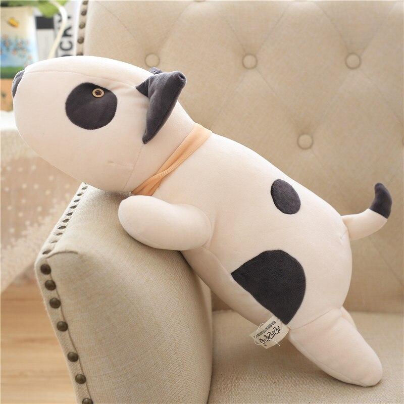 Bull Terrier juguete de peluche de perro Kawaii suave relleno cojín encantador perro forma almohada para niños Regalo de Cumpleaños 55cm
