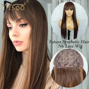 YYsoo длинные шелковистые прямые японские синтетические парики без шнурка с челкой #4 основные цвета #30, парики для женщин