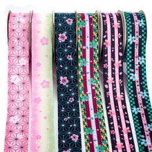 New Japanese Kimetsu No Yaiba Pattern Printed Grosgrain,satin Ribbon 50 Yards