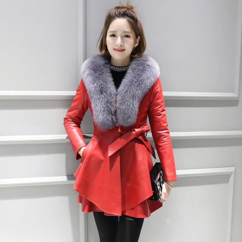 Fox Fur Coat Real Genuine Leather Jacket Autumn Winter Coat Women Clothes 2020 Korean Vintage Sheepskin Coat Windbreaker ZT3744
