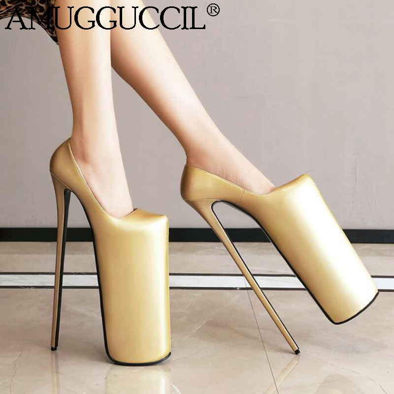 Customize 2020 Newest Plus Big Size 33-50 Gold Silver Fashion Sexy <font><b>30CM</b></font> High <font><b>Heel</b></font> Platform Party Lady Shoes Women Pumps D1339 image