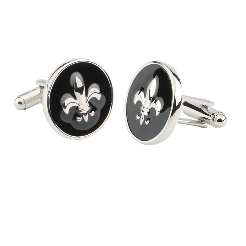 Marshal Cufflinks European And American-Style Hot Selling Men's And Women's Universal Round Black Jun Hua Logo Cufflinks Sleeve