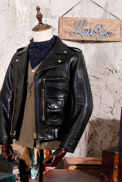 YR!Free shipping.Italy Luxury Batik cowhide clothing,motor biker style leather jackets,J24 Man vintage genuine leather coat, 3