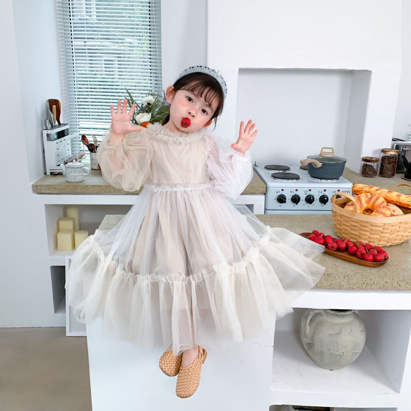 Children Dress 2020 Spring Dress New Girl Long Sleeve Lace Princess Dresses Children Net Yarn Dress Bubble Sleeve Dress