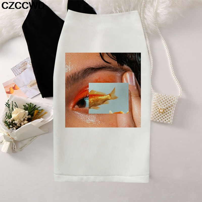 Women Pencil Skirt 2020 Fish Eyes Print High Waist Slim Skirt Sexy Mini Bodycon Gothic Pencil Skirt Faldas Mujer Moda Jupe Femme