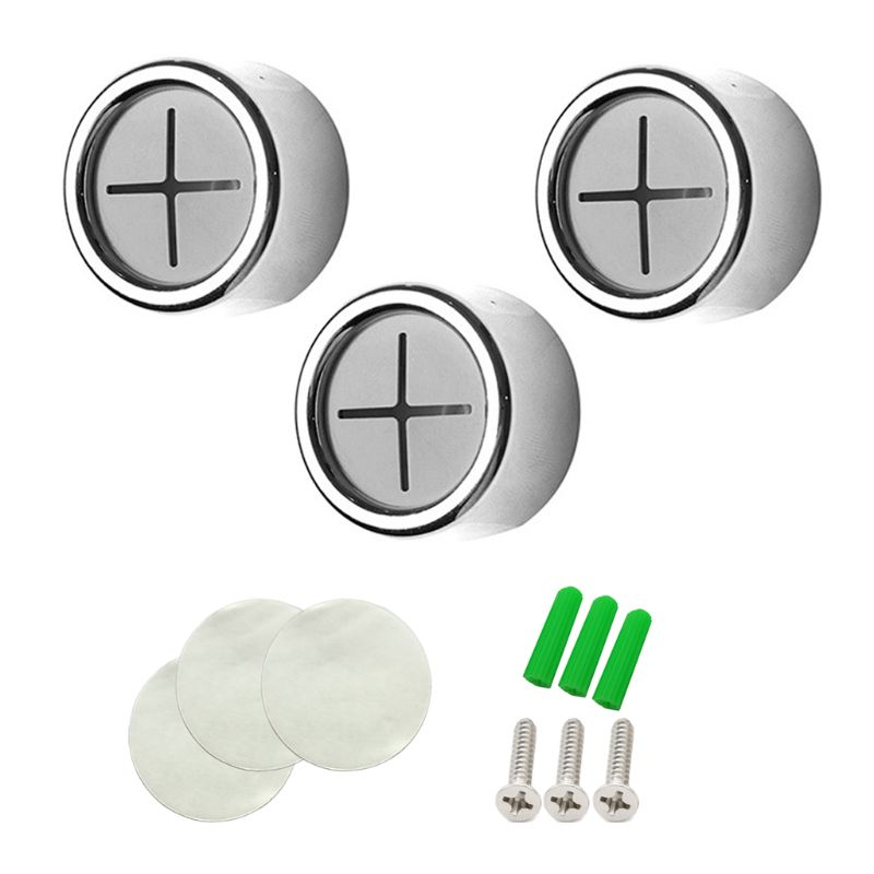 3pcs Self Adhesive Round Towel Holder Wall Mount Wash Cloth Clip For Bathroom