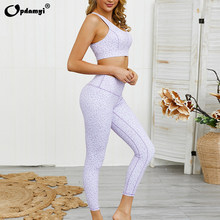 2020 New Camouflage Yoga Set Sports Wear For Women Gym Fitness Clothing Tops Printing Yoga Leggings + Sport Bra GYM Sport Suit(China)