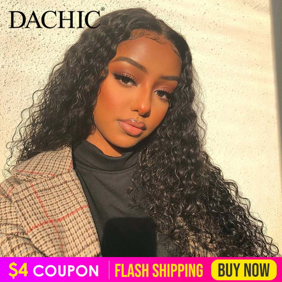 DACHIC Water Wave Lace Front Human Hair Wigs Pre Plucked 8-26 Inch 13x4 150% Brazilian Remy Hair Lace Frontal Wigs For Women