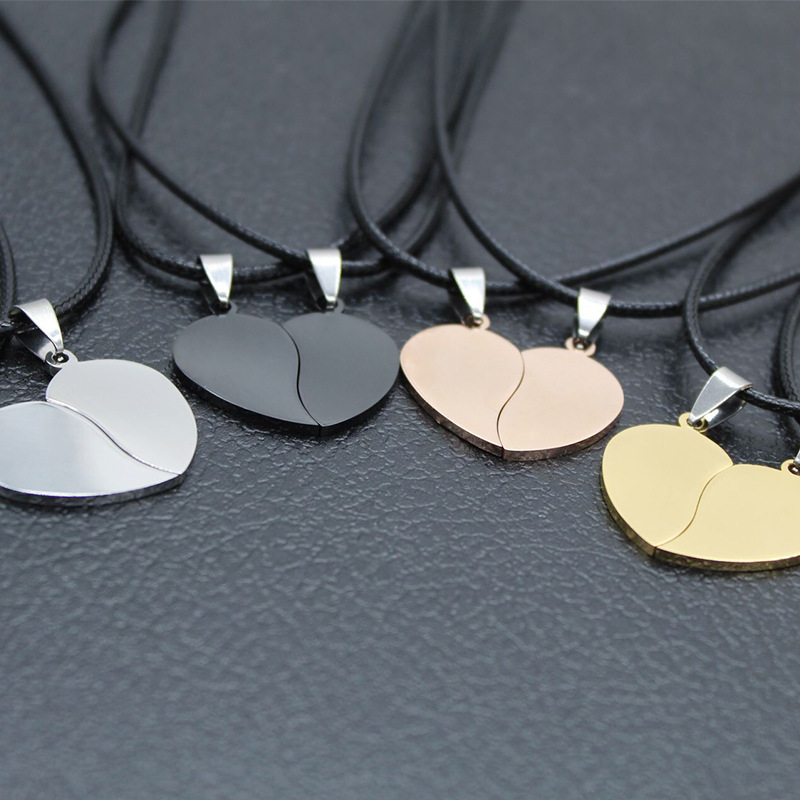2 pcs Necklace Heart Pendant to split Grey silver and Rose Chains