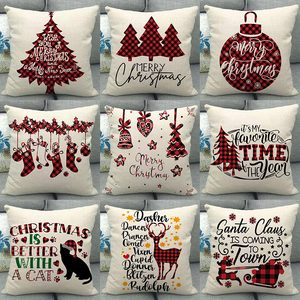 1Pcs Christmas Red Alphabet Bear Off-white Pattern Cotton Linen Throw Cushion Cover Home Sofa Bed Decorative Pillowcase 40673