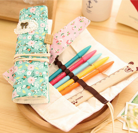 Double zipper pencil case stationery bag school supplies pastoral fresh small floral in Pencil Bags from Office School Supplies