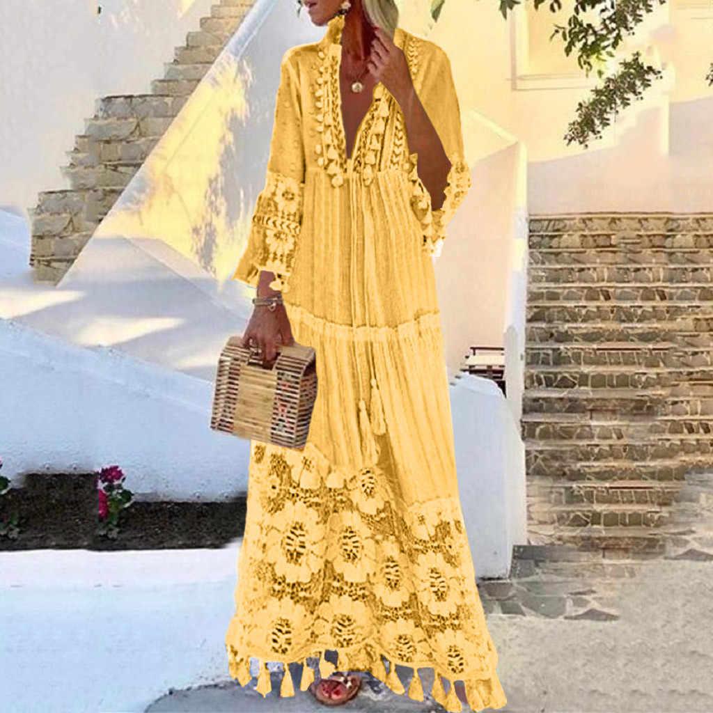 ฤดูใบไม้ร่วงแฟชั่น Casual Party Bohemian ขนาดใหญ่ V คอลูกไม้สีทึบพู่ชุดยาวขายส่งฟรีเรือ платье Z4