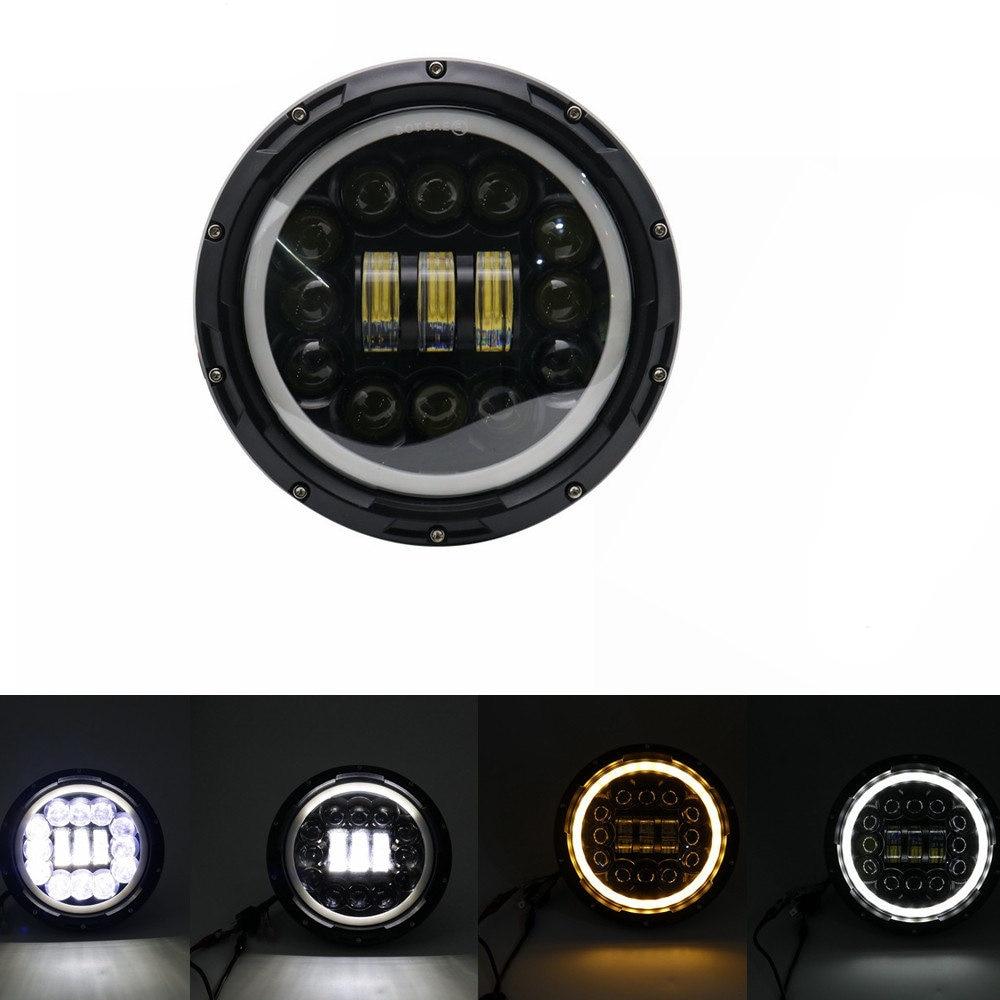 """Для lada Niva 4x4 suzuki samurai """" светодиодный DRL H4 галогеновые фары головного света для ВАЗ 2101 7 дюймовый светодиодный фар головного света с Halo Кольцо желтый сигнал поворота - Цвет: 90W Headlight Black"""