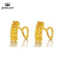 JLZB 24K قرط ذهبي نقي حقيقي AU 999 قرط ذهبي صلب s صف مزدوج الماس الراقي العصرية الجميلة مجوهرات رائجة البيع جديد 2020