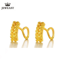 JLZB 24K טהור זהב עגיל אמיתי AU 999 מוצק זהב עגילי כפול שורה יהלומים יוקרתי תכשיטים טרנדי חם למכור חדש 2020