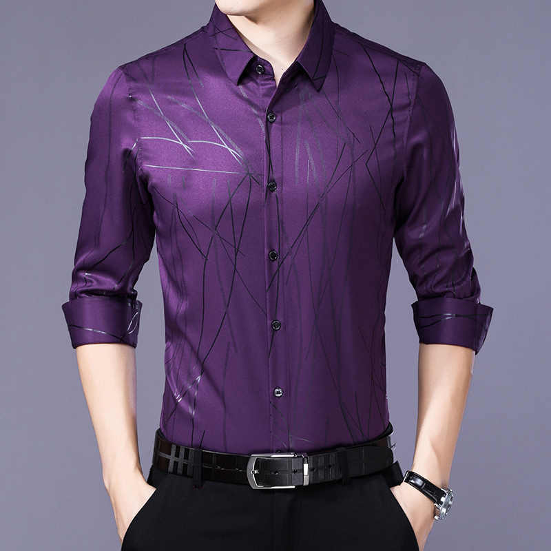 Camisa de manga larga de primavera Camisa de seda auténtica a rayas para hombres camisas negras coreanas para hombre Casual Delgado ajuste 2020 Camisa Masculina dj1965