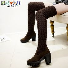 Boots Women Botas Mujer Fashion Winter High Heel Long Boots Classic Black Thigh High Boots Shoes Woman Over The Knee Boots Ankle prova perfetto women knee high boots straps platform rubber shoes woman chunky high heel long botas mujer handmade martin boot