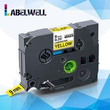 Labelwell 9mm Label tape Tze-621 Black on Yellow Laminated tze tape Tze621 Tze 621 replace