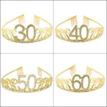 Женская диадема с кристаллами 30, 40, 50, 60, вечерние украшения для тортов