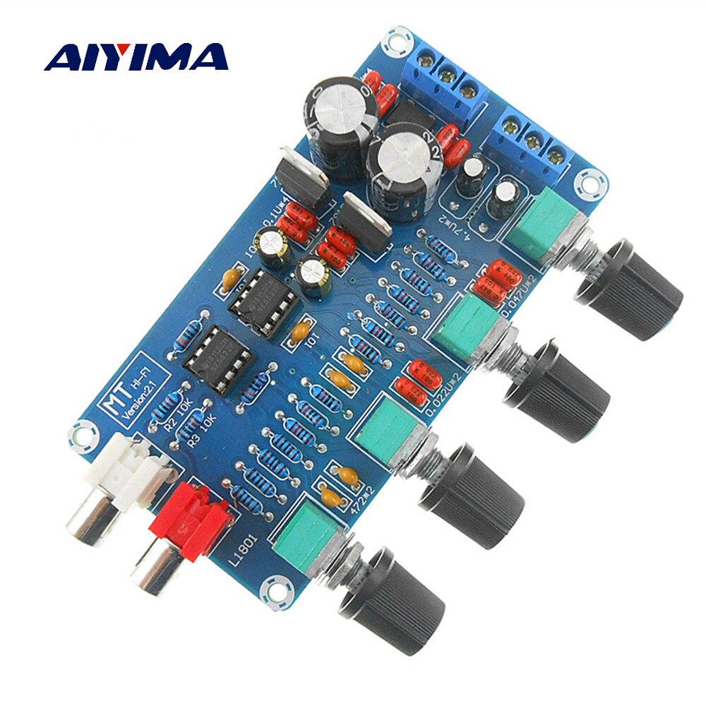 Aiyima casa amplificador pré-amplificador volume tom agudos baixo midrange ne5532 op amp placa de controle de alta fidelidade eq dupla ac 12 v-18 v