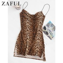 ZAFUL Slangenhuid Luipaard Print Slits Flared Cami Jurk Vrouwen Hoge Taille Korte Sexy Party Dress Cocktail Vakantie Mini Jurk Femme(China)