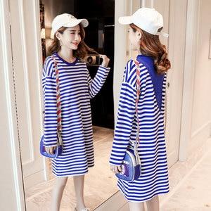 Одежда для беременных 2018 осенняя одежда новый стиль длинный рукав Футболка для беременных женщин Полосатое платье средняя длина для беременных женщин Базовая
