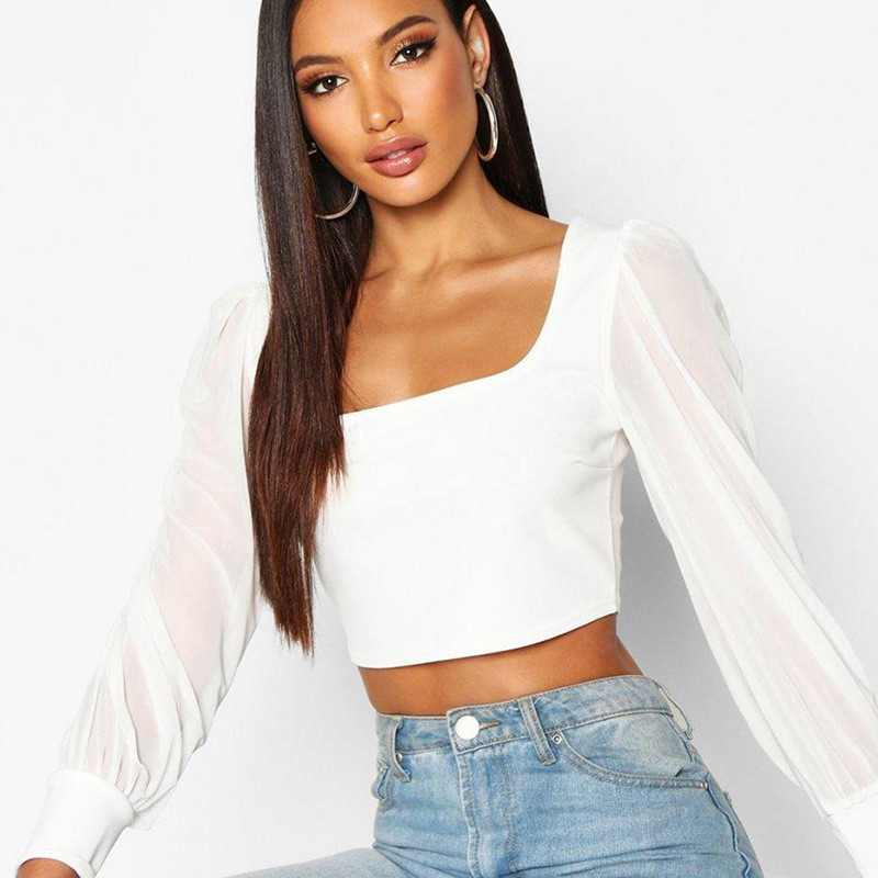 Sweet Black White Summer Mesh Spliced Blouses O-neck Women Puff Sleeve Tops And Blouses Sexy Vintage Shirt Women Crop Top