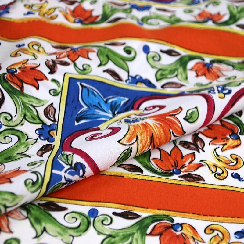 Stretch cotton fabric.Pattern 0.6 m Orange majolica cotton Designer cotton fabric Majolica cotton fabric