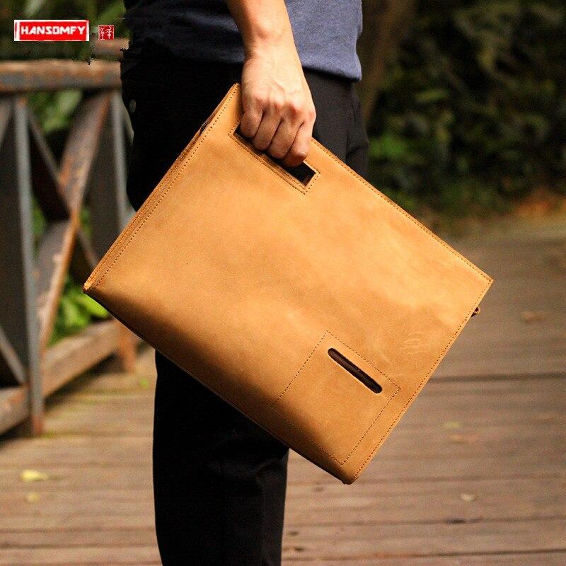 Crazy Horse Leather Men's Clutch bag Leather Men handBag Simple Personality Shoulder Messenger Bag Original Leather File Bags