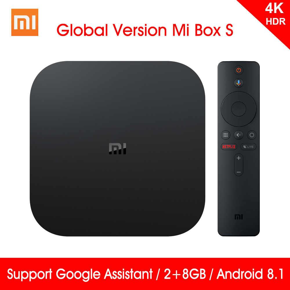 Versão Global Xiao mi mi Caixa S 4K HDR Android TV 8.1 mi Boxs 2G 8G WI-FI google Elenco mi Netflix IPTV Set Top Box 4 Media Player