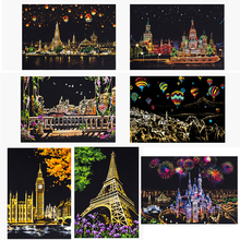 Cherry West Lake Castle Windmill Hot Air Balloon Colorful Magic Scratch Art Painting Drawing Paper Crafts Adults DIY Toys Gifts