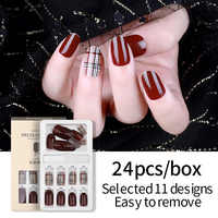 PinPai 24pcs Detachable False Nail Artificial Tips for Decorated Design Press On Nail Art Fake Extension Tips with Glue Adhesive