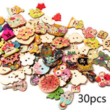 Vintage Mixed Painting Wooden Buttons For Crafts Scrapbooking Sewing Clothes Button DIY Kid Apparel Supplies 15-35mm