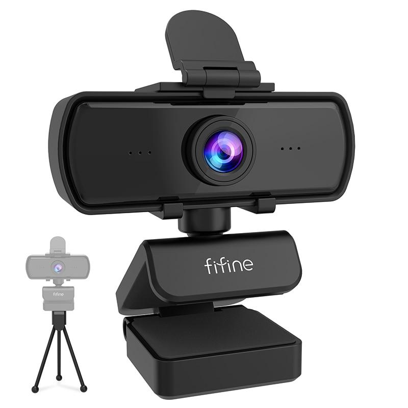 Веб-камера FIFINE 1440p Full HD для ПК с микрофоном, штатив, для USB настольного компьютера и ноутбука, прямая трансляция веб-камеры для видео Calling-K420