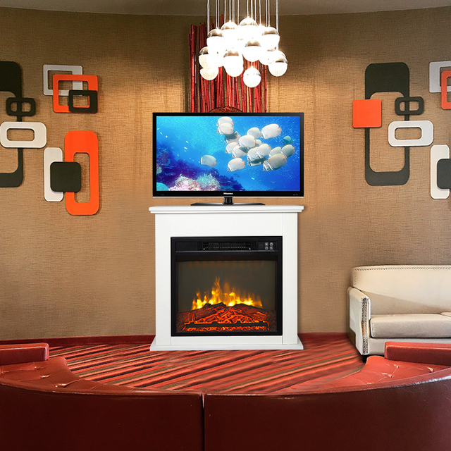 Electric Fireplace w/ White Wood Cabinet  6