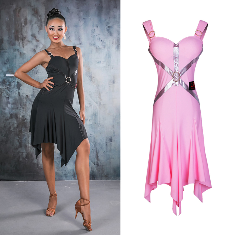 Sexy Latin Dance Dress Ring Sling Salsa Dress Latin Dance Competition Dresses Adult Performance Ballroom Dancing Clothes DQS1973